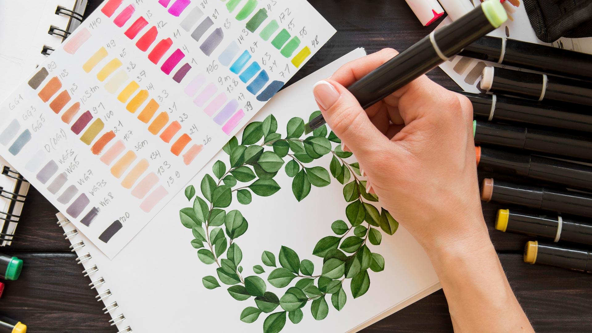Видео мастер-класс «Как нарисовать зеленый венок маркером»