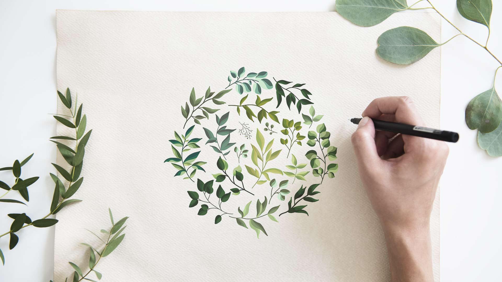 Как нарисовать эскиз венка иззелени