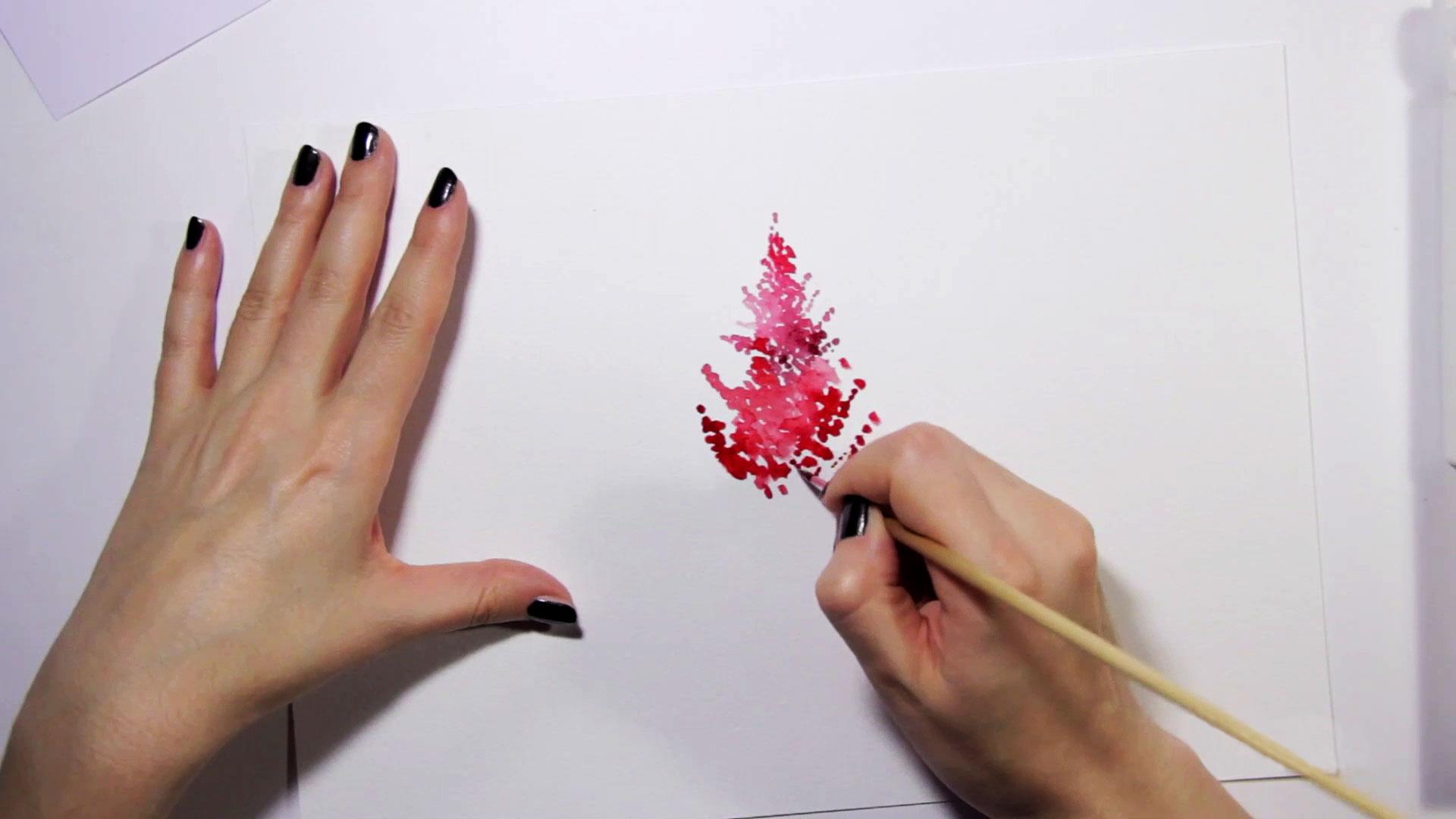 Как рисовать астильбу акварелью вэскизе декора