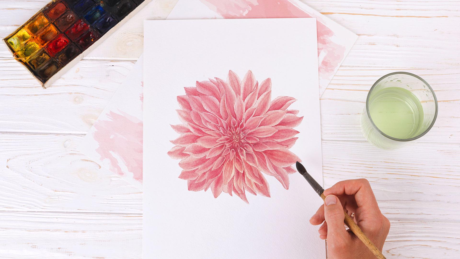 Как рисовать хризантему акварелью вэскизе декора