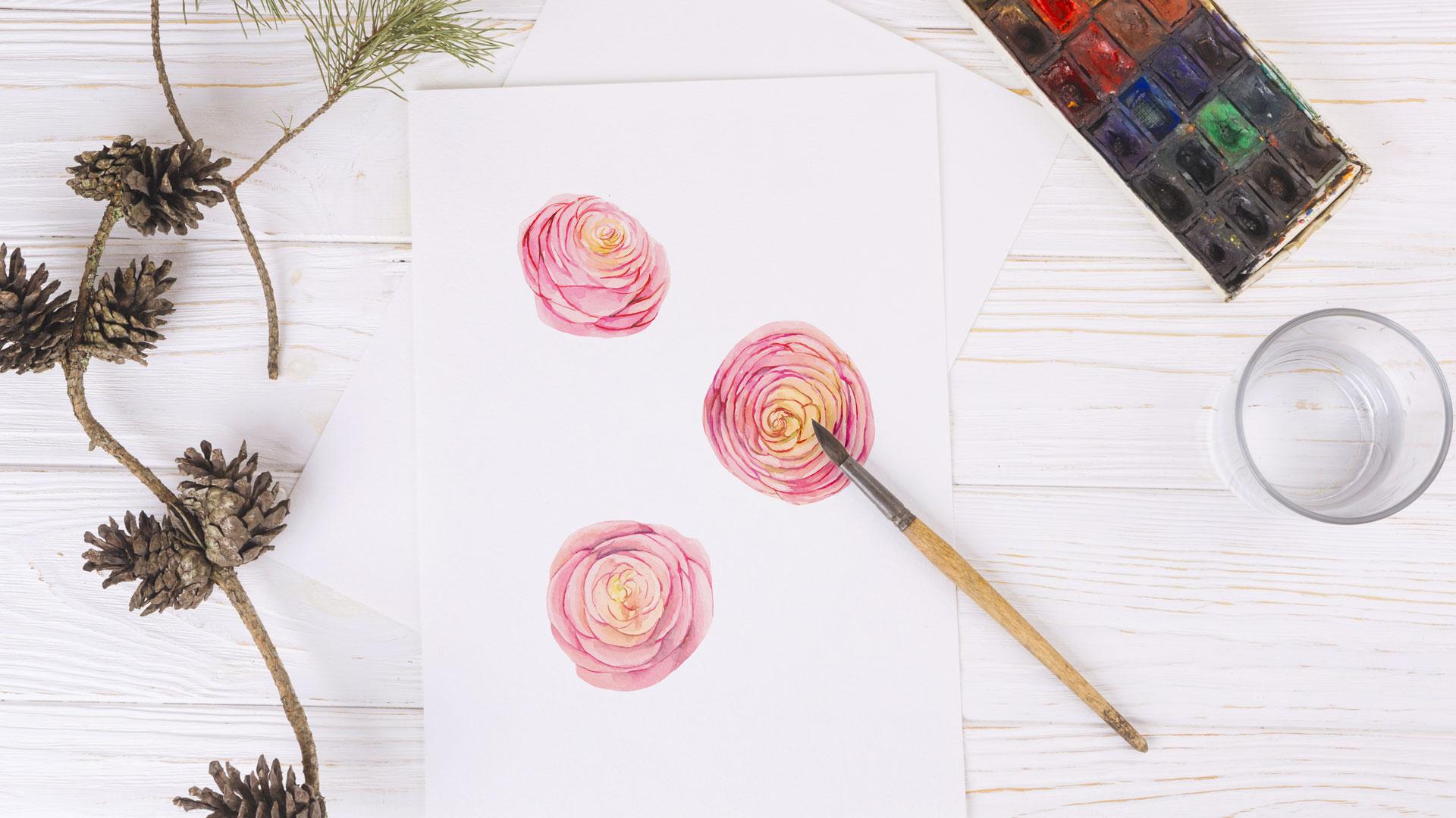 Как рисовать лютик акварелью вэскизе декора