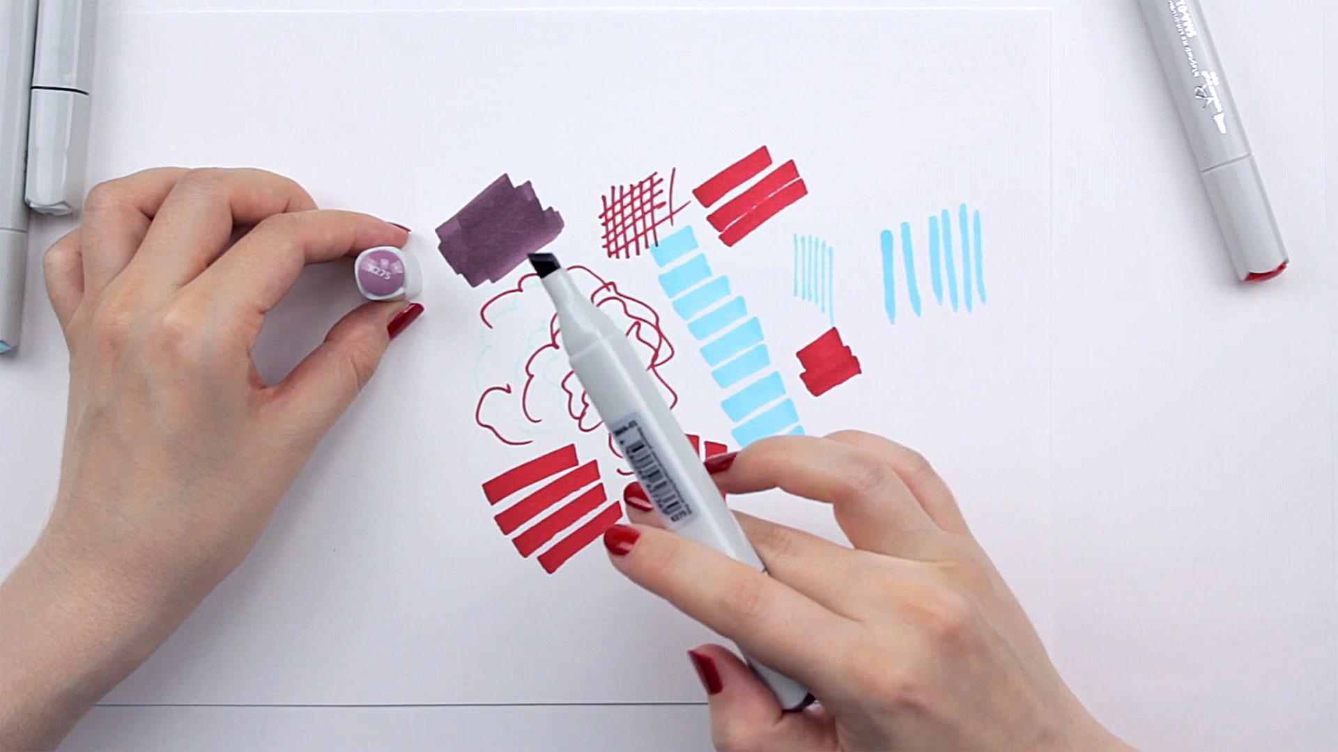 Видео мастер-класс «Оттенки маркеров вэскизах декора»