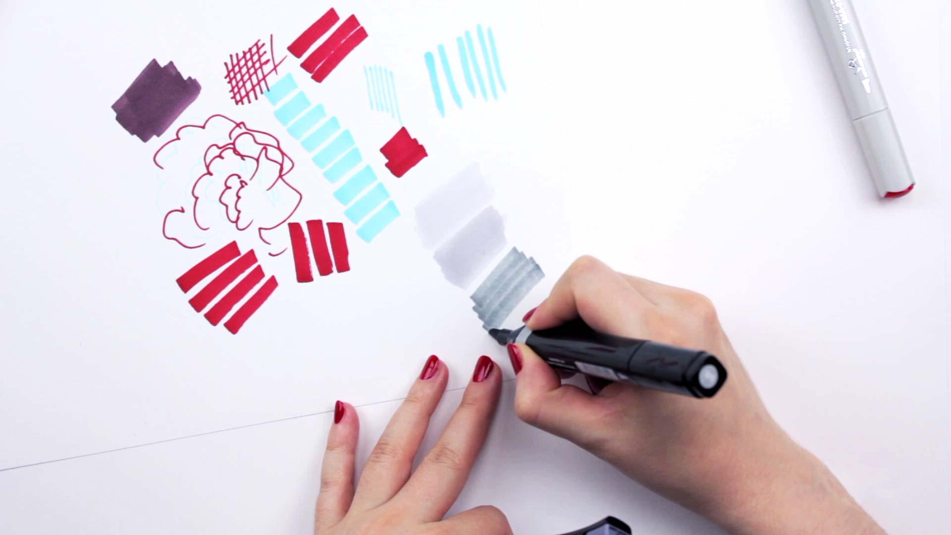Видео мастер-класс «Оттенки серого вэскизах декора маркерами»